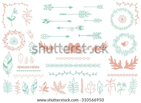 Ethnic tribal boho elements. Arrows and feathers, dividers and borders.  Elegance decoration artwork, decorative sign hipster, sketch drawing, love label - stock photo