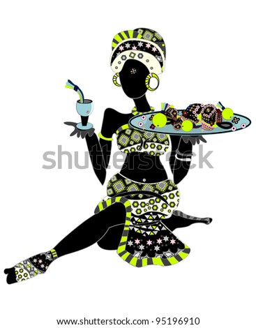 ethnic woman holding a drink and food in ethnic style - stock photo