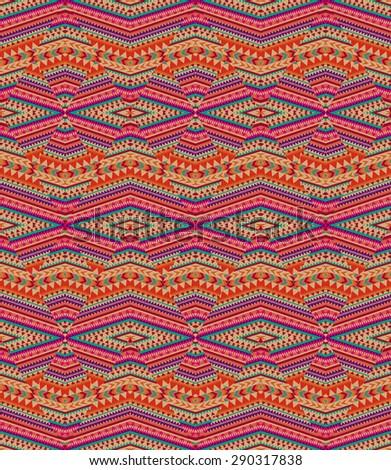 ethnic zigzag print ~ seamless background - stock photo