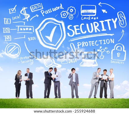 Ethnicity Business People Discussion Digital Security Protection Concept - stock photo