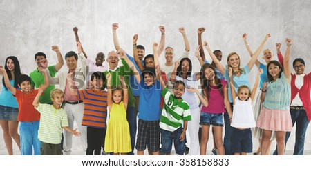 Ethnicity Crowd Happiness Community Diverse Unity Concept