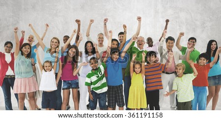 Ethnicity Crowd Happiness Community Diverse Unity Concept - stock photo