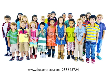 Ethnicity Diversity Group of Kids Friendship Cheerful Concept - stock photo