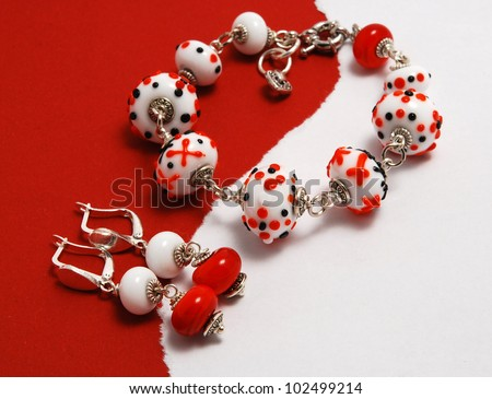 Ethno Jewellery set made of murano glass - stock photo