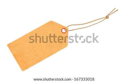 Etiquette with ribbon isolated on white - stock photo