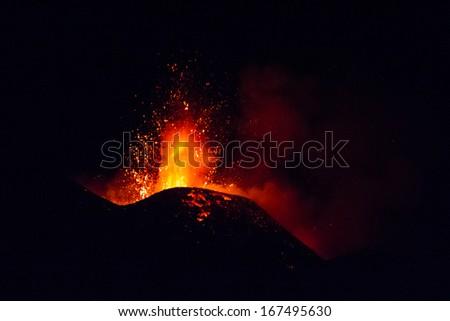 Etna eruption 15 December - stock photo