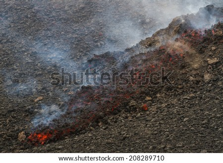 Etna eruption of July 2014 - lava flow and explosions - stock photo