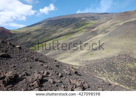 Etna Park bleack slope of volcaninc ash and some low bushes an altitude of 2000 m., Sicily  - stock photo