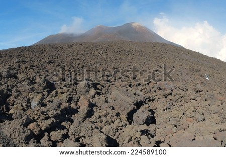 Etna summit craters of south-east panorama, Sicily - stock photo