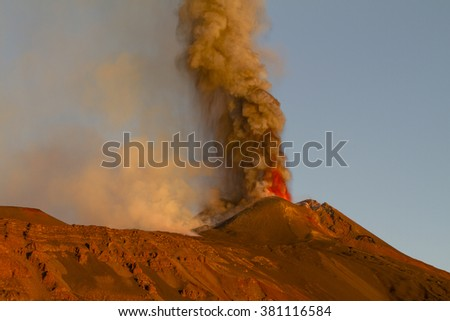 Etna volcanic plume to October 2013 - stock photo