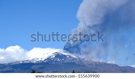 Etna volcano eruption - Sicily - stock photo