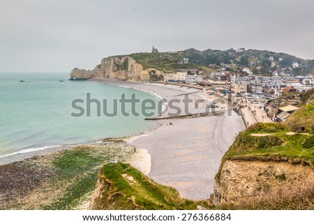 Etretat beach in Normandy France - stock photo