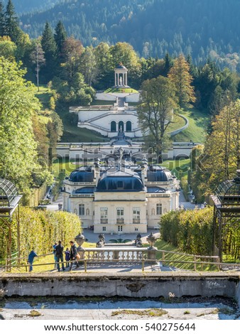 ETTAL - OCTOBER 12 : Linderhof palace was built by King Ludwig II of Bavaria in Ettal municipality, Bavaria state, Germany, decorated with beautiful elegant architecture, was taken on October 12, 2016