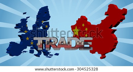 EU and Chinese map flags with trade text illustration - stock photo