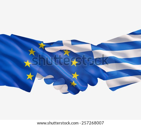 EU and Greece  flags with a handshake on a white background