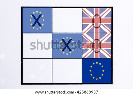 EU and United Kingdom flag on the board of Tic Tac Toe Game, concept of Brexit referendum