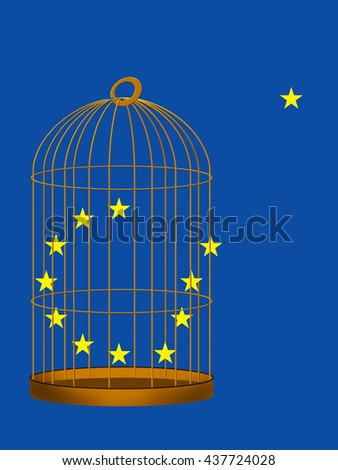 EU. Brexit, UK exit, vote to leave concept. Europe star escaping gilded cage. - stock photo