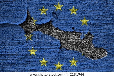 EU disaster, concept of failure of Europe project after brexit - flag of the EU on old rugged wall - stock photo