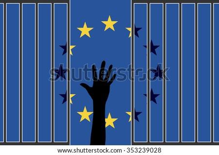 EU falling apart. The refugee crisis is threatening the European Union - stock photo
