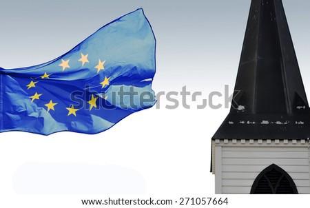 EU flag and traditional Norwegian church   - stock photo