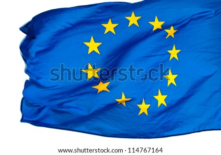 EU flag in the wind on a white background - stock photo