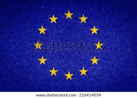 EU flag on paper background - stock photo