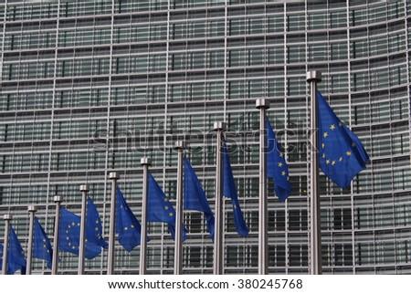 EU flags - stock photo