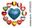 EU hearts - stock vector