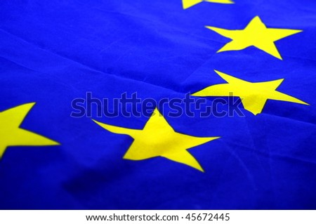 eu or european union flag in blue with yellow stars - stock photo
