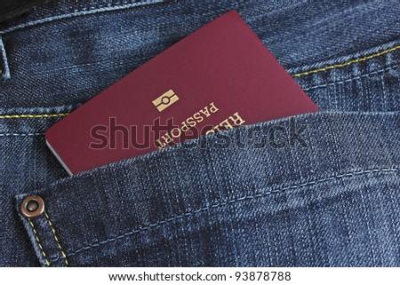 EU passport in a pocket - stock photo