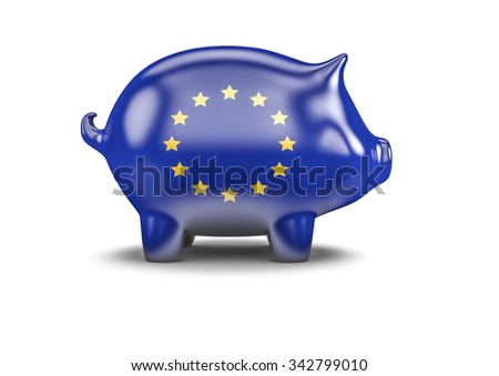 EU piggy bank / 3D render of piggy bank with European Union flag - stock photo