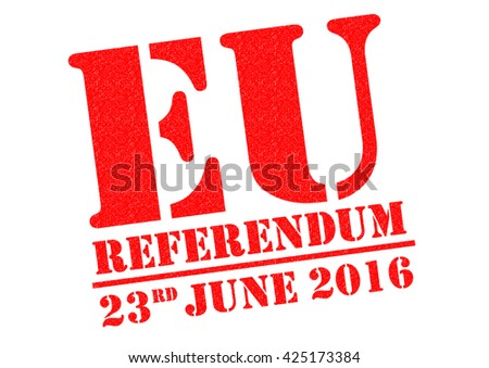 EU REFERENDUM red Rubber Stamp over a white background. - stock photo