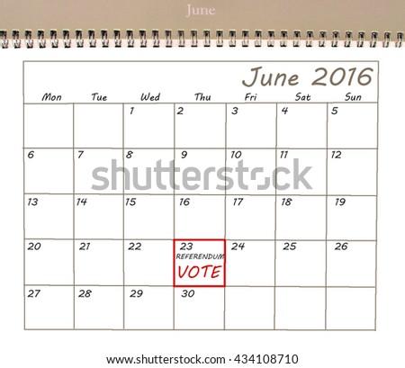 EU Referendum reminder on a calendar - stock photo