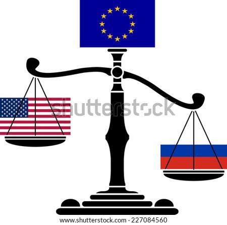 EU scales. third variant. raster version - stock photo