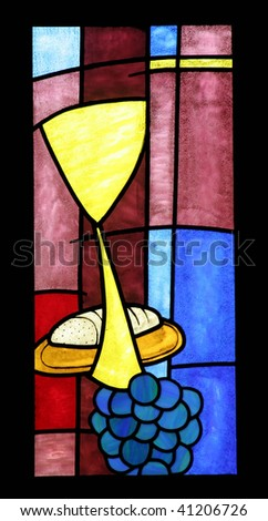 Eucharist, a bright and colorful stained glass window - stock photo