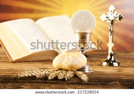 Eucharist, sacrament of communion - stock photo