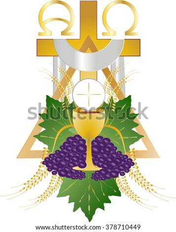 Eucharist Symbol Bread Wine Chalice Host Stock Illustration