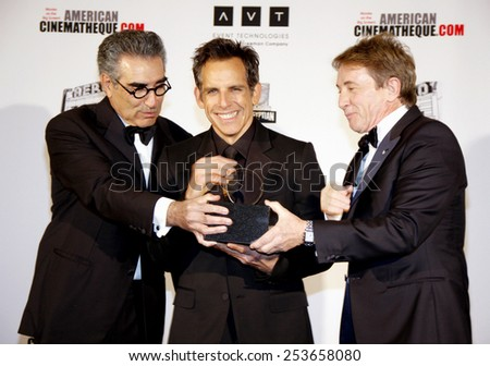 Eugene Levy, Ben Stiller and Martin Short at the 26th American Cinematheque Award Honoring Ben Stiller held at the Beverly Hilton Hotel in Los Angeles, California, United States on November 15, 2012. - stock photo