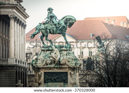 Eugene of Savoy's monument in Buda part of Budapest. Hungary, Europe. Famous travel destination. - stock photo