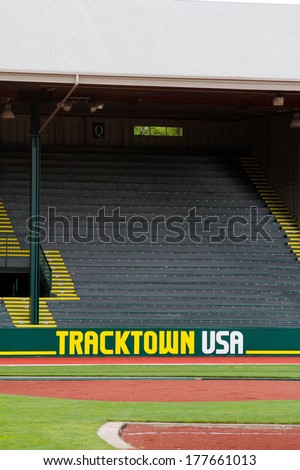 EUGENE, OR - April 28: Historic Hayward Field ready for the Eugene Marathon on April 28, 2013 in Eugene, OR. The Eugene Marathon is a premier marathon in the U.S.