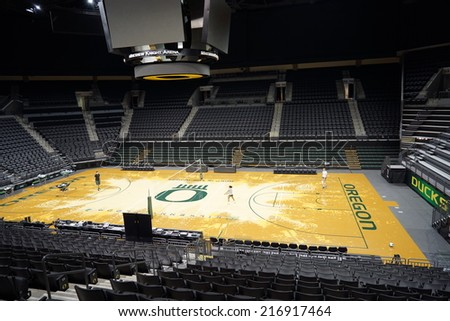 EUGENE, OR - August 20, 2014: Matthew Knight Arena on the University of Oregon campus. MKA hosts basketball games and special events for UO. - stock photo