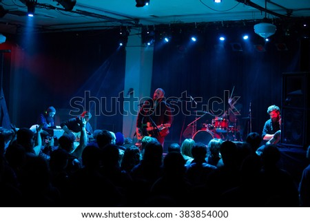 EUGENE, OR - JANUARY 9, 2015: Independent postrock band This Patch of Sky performs a concert at the famed Wow Hall in Eugene, Oregon.