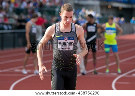 EUGENE, OR - JULY 4, 2016: Clayton Murphy wins the Men'a 800m Final on day 4 of the USATF Olympic Trials for track and field at Historic Hayward Field in Eugene, Oregon.