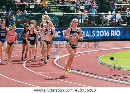 EUGENE, OR - JULY 4, 2016: Women's 3000m Steeplechase 1st round qualifying on day 4 of the USATF Olympic Trials for track and field at Historic Hayward Field in Eugene, Oregon.