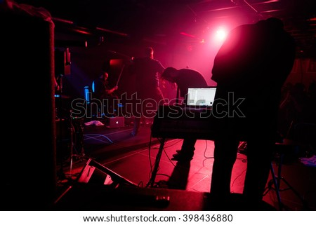 EUGENE, OR - MARCH 26, 2016: Post-rock instrumental band This Patch of Sky performs at the HiFi Music Hall in Eugene, Oregon, USA.