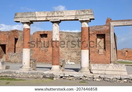 Eumachia Building portico on the Forum in Pompeii, Italy - stock photo