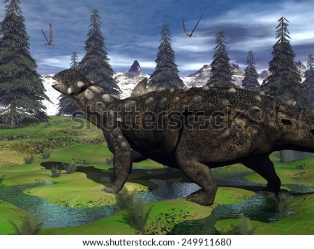 Euoplocephalus dinosaur walking in the mountain among fir trees and onychyopsis plants by day - 3D render - stock photo