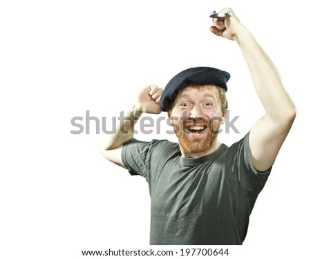 Euphoric plumber  in hat with red beard on white