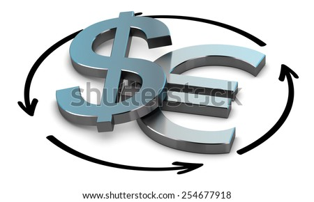 EUR and USD Pair over white background with arrow symbol of exchange  - stock photo