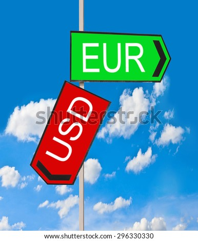 EUR USD symbol icon up down currency forex sign on sky background